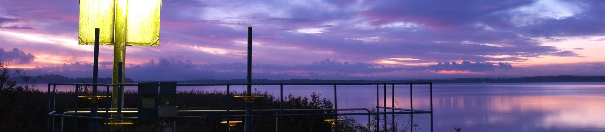 Ringsjöns råvattenintag solnedgång