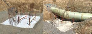 Armeringsjärn som stöd vid en böj i råvattenledningen