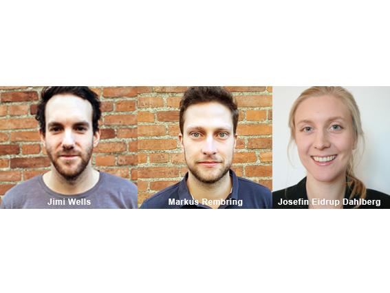 Ex-jobbare våren 2021. Jimi Wells, Markus Rembring, Josefin Eidrup Dahlberg