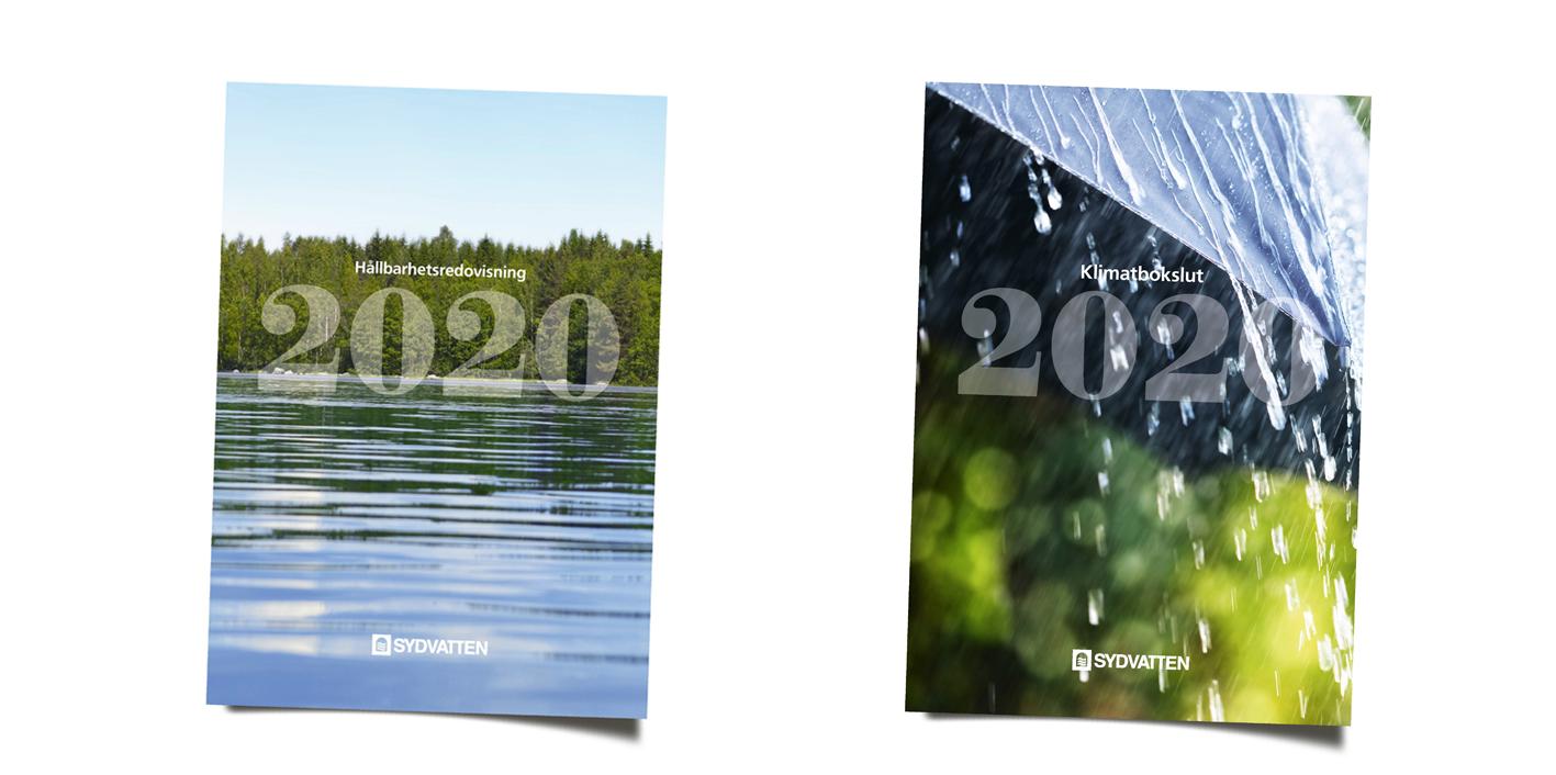 Framsidorna av hållbarhetsredovisningen och klimatbokslutet 2020