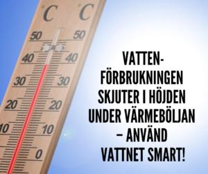 Termometer och texten: Vattenförbrukningen skjuter i höjden under värmeböljan - använd vattnet smart